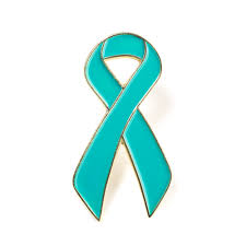 teal ribbon ovarian cancer awareness lapel pin cervical cancer ribbon lapel