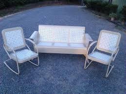 Old Metal Outdoor Furniture by Powdercoated Restored Vintage Metal Patio Gliders Vintage Metal