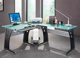 Glass Top Desk With Keyboard Tray Modern L Shaped Corner Desk With Frosted Glass Top U0026 Keyboard Tray