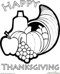 color the thanksgiving horn of plenty worksheet education