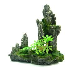 mountain aquarium ornament tree rock cave hide bonsai