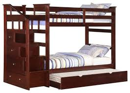 Bunk Beds With Trundle Espresso Twin Over Twin Size Bunk Bed With Trundle Storage