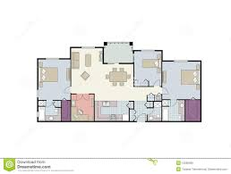 floor plan of three bedroom condo with furniture royalty free