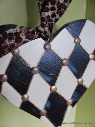 hand painted hearts heart ornaments or door hangers stripes