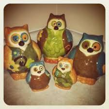 owl canisters for the kitchen vintage owl canisters set of 4 pottery craft these are awesome