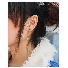 black stud earrings for guys fashion black cross men silver plated boys cross earring stud