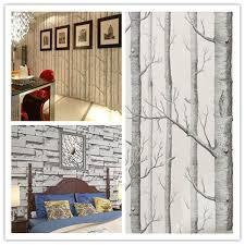 wallpaper simple birch tree brick stone pattern textured roll room