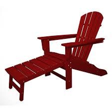 Plastic Wood Chairs Polywood Adirondack Chair Liegestuhl Mit Fussteil Rot Casa Bruno