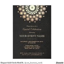 gold circle motif black linen look formal 5x7 paper