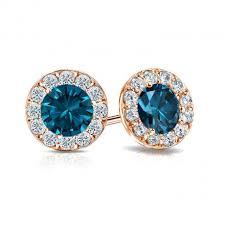 blue diamond stud earrings certified 14k gold halo blue diamond stud earrings 2 00