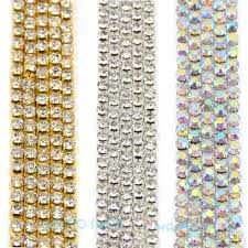 popular crystal trims gold buy cheap crystal trims gold lots from 10 metres lot 2 5mm silver ab gold crystal rhinestone close chain trimming applique sewing