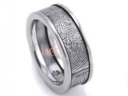 fingerprint wedding band sterling silver custom fingerprint wedding band with side rims