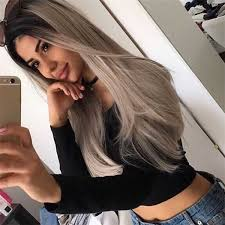 black grey hair 24 long black to grey ombre synthetic hair wig edw1016