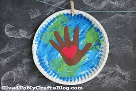 paper plate earth day kid craft glued to my crafts