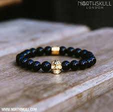 black beaded charm bracelet images Black onyx and 18kt gold bracelet charm by north skull jpg