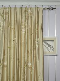 Faux Silk Embroidered Curtains 120 Inch Wide Chagne Embroidered Floral Faux