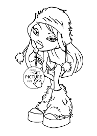 bratz winter style coloring pages for kids printable free