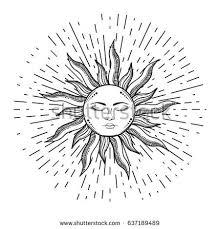 retro illustration face sun sun tattoos stock vector 414711196
