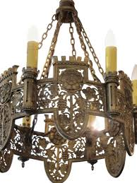 Tudor Chandelier Beautifully Detailed Six Light Bronze Tudor Chandelier