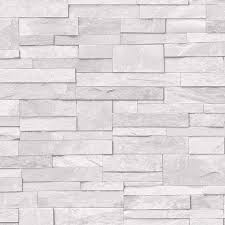 3d slate stone brick effect wallpaper washable vinyl natural grey