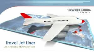 jet airplane with travel map a powerpoint template from