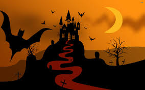 halloween castle background tree moon castle