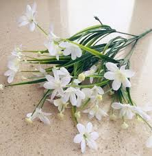 wedding flowers greenery plastic leaf bunch white orchid flower leaf grass plant