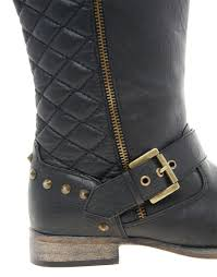 engineer biker boots river island quilted biker boots in black lyst