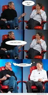 Bill Gates And Steve Jobs Meme - steve jobs vs bill gates 20 by ben meme center