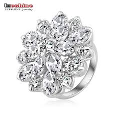 aliexpress buy new arrival white gold color aaa flower engagement rings image collections jewelry design exles