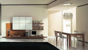 living room brigh modern wall units with blonde wooden panels on