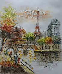 hand painted european landscape oil painting on canvas eiffel