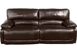 Reclining Sofas Leather Home Auburn Brown Leather Power Reclining