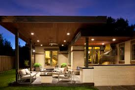 Outdoor Wood Ceiling Planks by Fancy Outdoor Family Lounge With Nice Lighting On Wood Plank