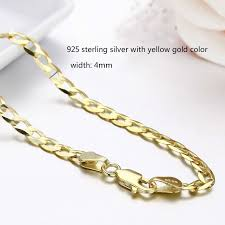 colored chain link necklace images 45cm 80cm 4mm slim 925 sterling silver w gold color curb chain jpg