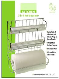 Kitchen Wrap Organizer by Amazon Com Chrome Plated Steel 3 In 1 Roll Dispenser Organizer
