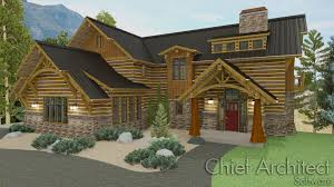 chief architect home design software samples gallery on timber frame construction in the form of a classic mountain home with shed dormer prow roof overhangs custom trusses log siding with chinking
