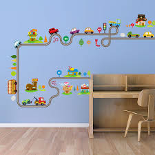 cartoon cars on the highway wall stickers headboard desk decor cartoon cars on the highway wall stickers headboard desk decor wallpaper poster art house trees along the car road wall graphic in wall stickers from home