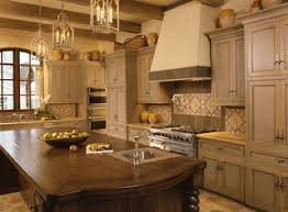 Two Color Grey And Crème Kitchen Cabinets Mediterranean - Mediterranean kitchen cabinets