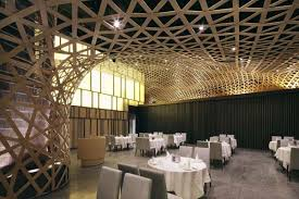 modern restaurant design that features cool bamboo elements