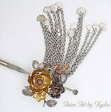 kanzashi hair pin antique silver bira bira kanzashi hair pin with peony item 695262