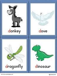 letter d words and pictures printable cards donkey dove