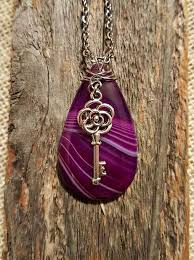 rose key necklace images Purple striped teardrop agate wire wrapped rose key charm pendant jpg