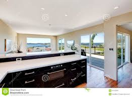 Living Room Kitchen Images Bright House Interior Living Room With Walkout Deck And Kitchen