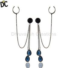 ear cuffs online sterling silver blue corundum gemstone chain fashion ear cuff
