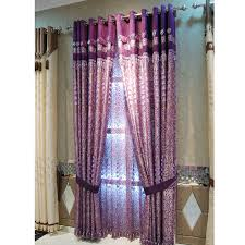 Faux Silk Embroidered Curtains Simple Style Embroidery Floral Leaf Purple Faux Silk Curtains