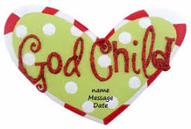 buy godchild word on polka dot ornament personalized