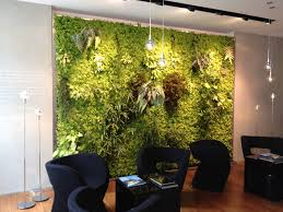 nice indoor green wall with various plants combined with stylish