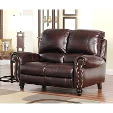 omega brown bonded leather recliner loveseat leather power