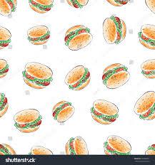 burger wrapping paper hamburger food repeat vector seamless pattern stock vector